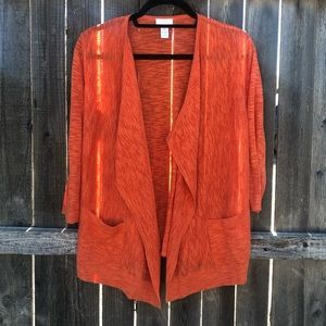 Chico's Orange Lightweight Cardigan